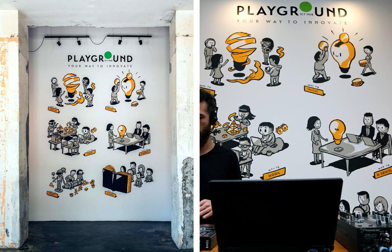ict hub playground mural belgrade
